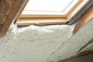 spray foam insulation around window
