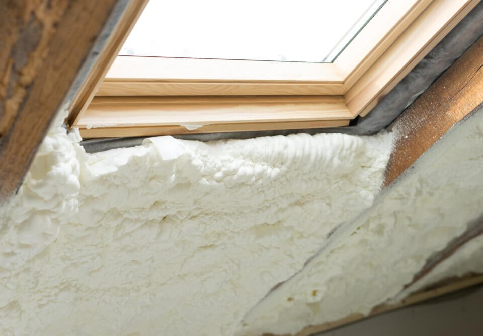 spray foam insulation around window